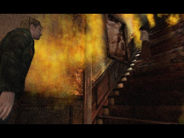 woman walking up burning stairs