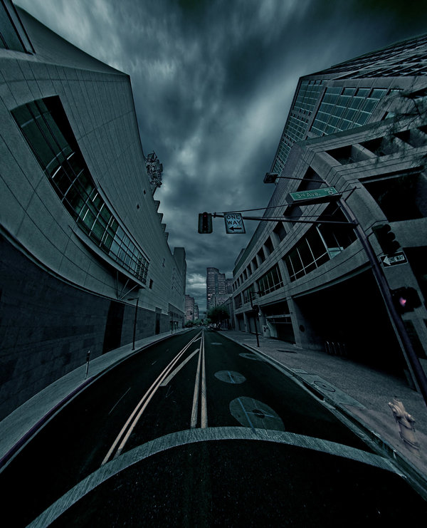 distorted city street