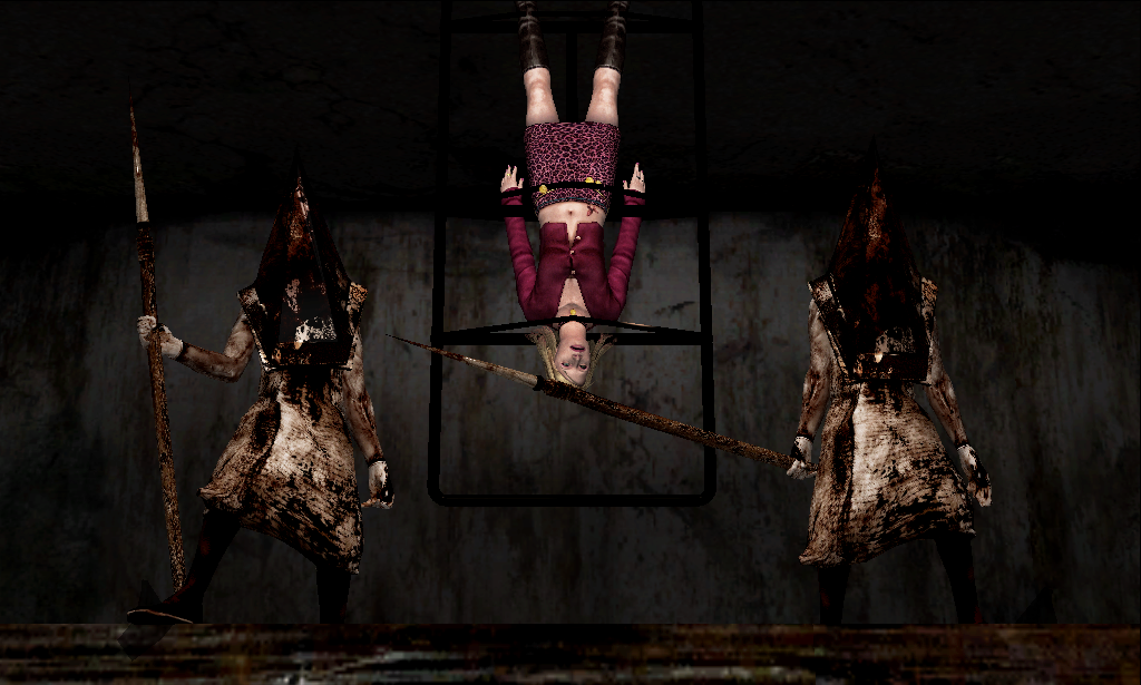 woman hung upside down by the feet